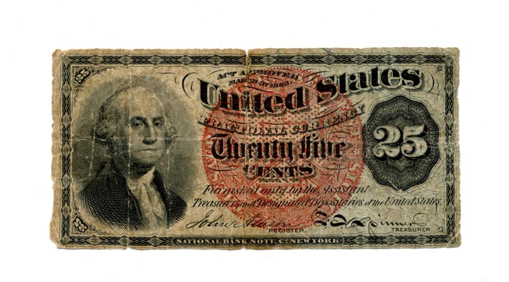 1863 United States 25 Cent Fractional Note