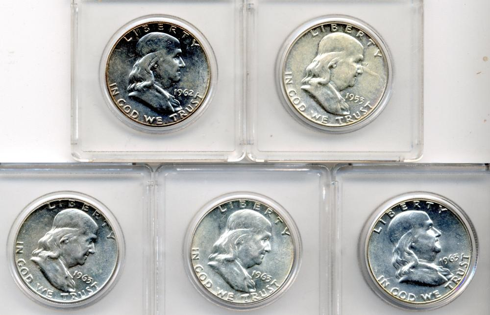 (5) Franklin Silver Half Dollars