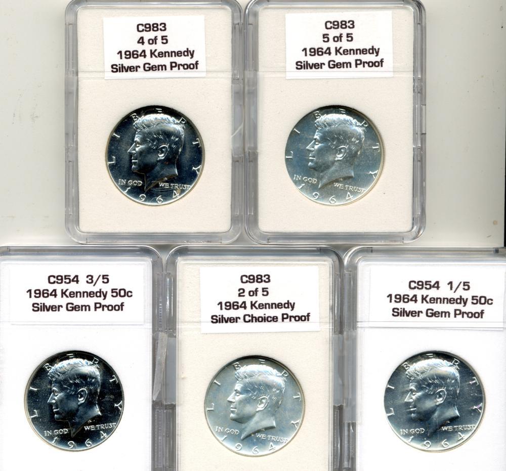 (5) Original 1964 Kennedy Silver Half Dollars