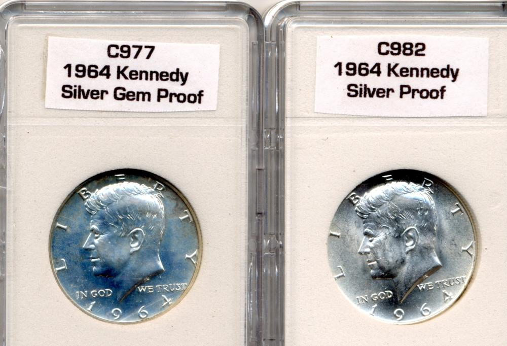(2) Original 1964 Kennedy Half Dollars