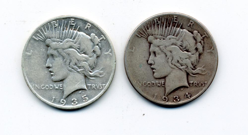 (2) Original 1935-S 1934 S Peace Dollars