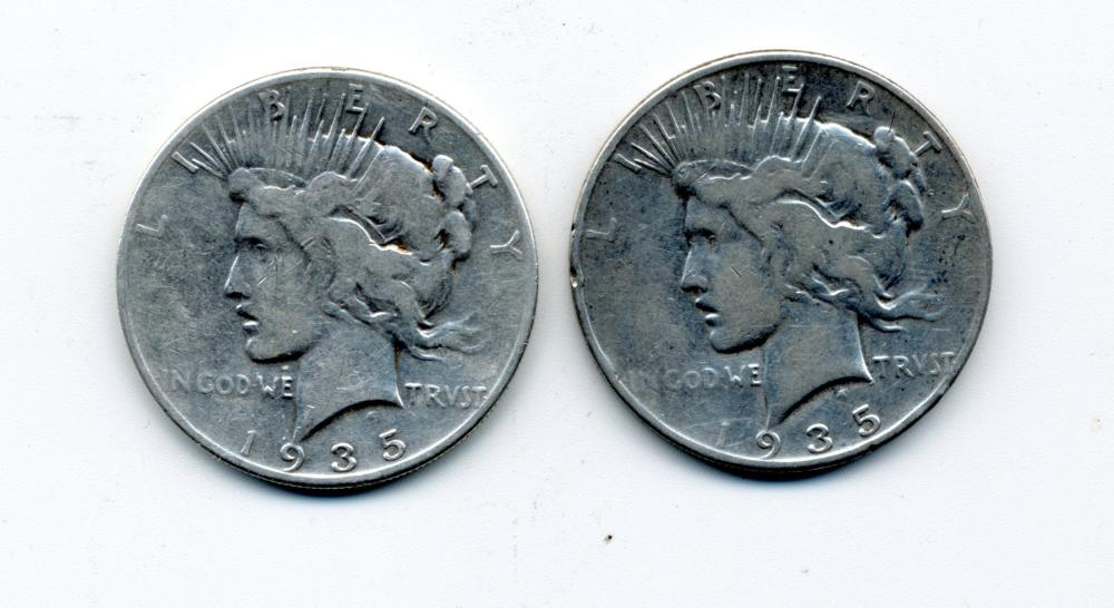 (2) Original 1935 Peace Dollars