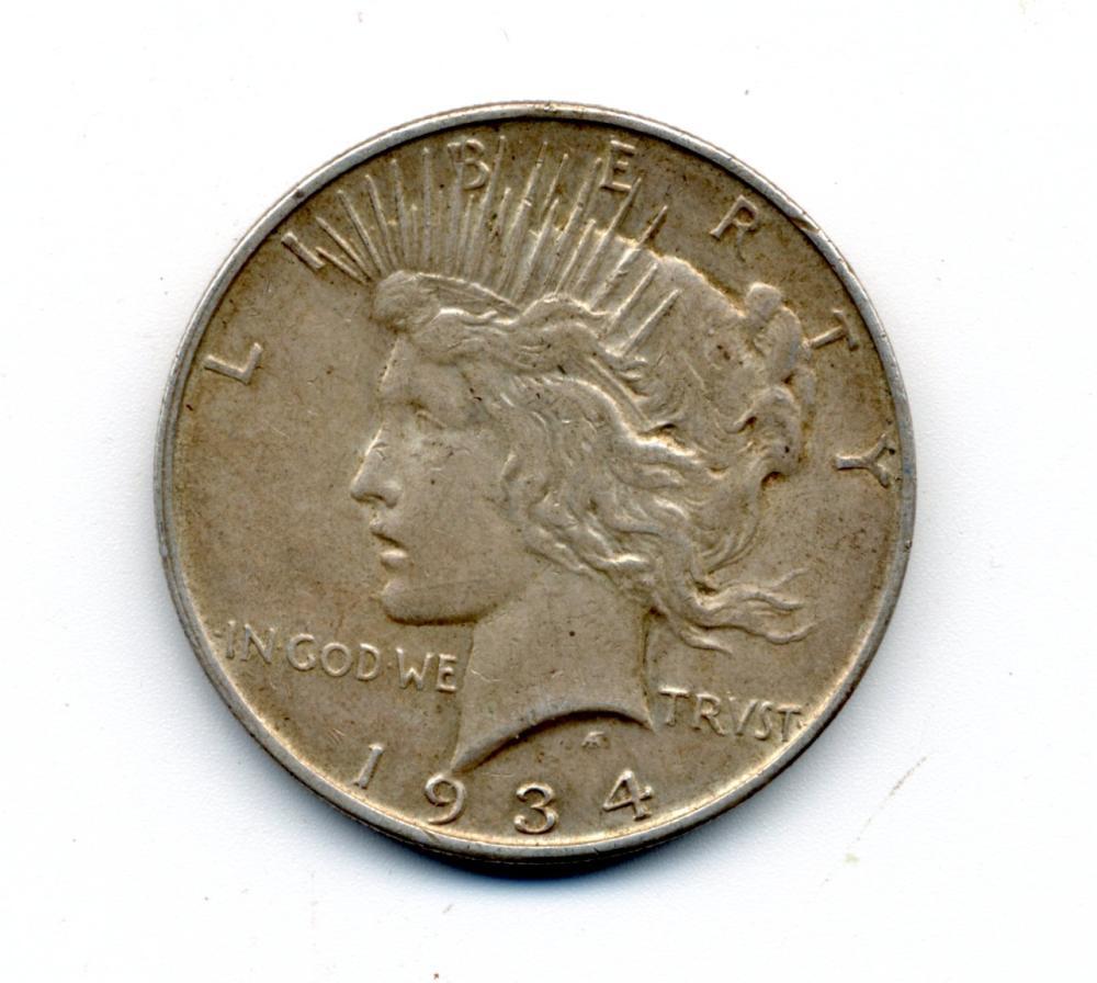 Original 1934 Peace Dollar