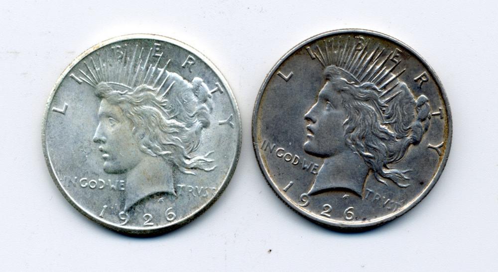 (2) Original 1926 1926 D Peace Dollars