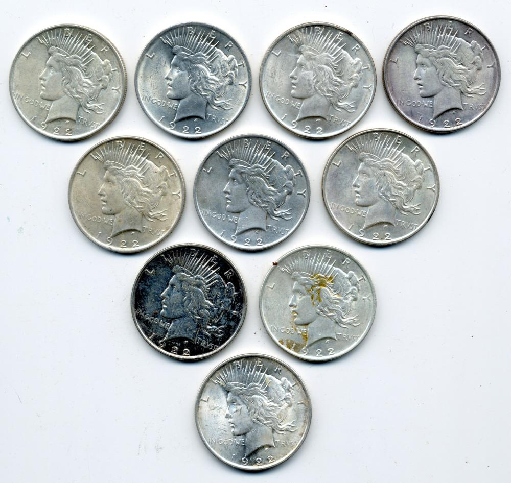 (10) Original 1922 Peace Dollars