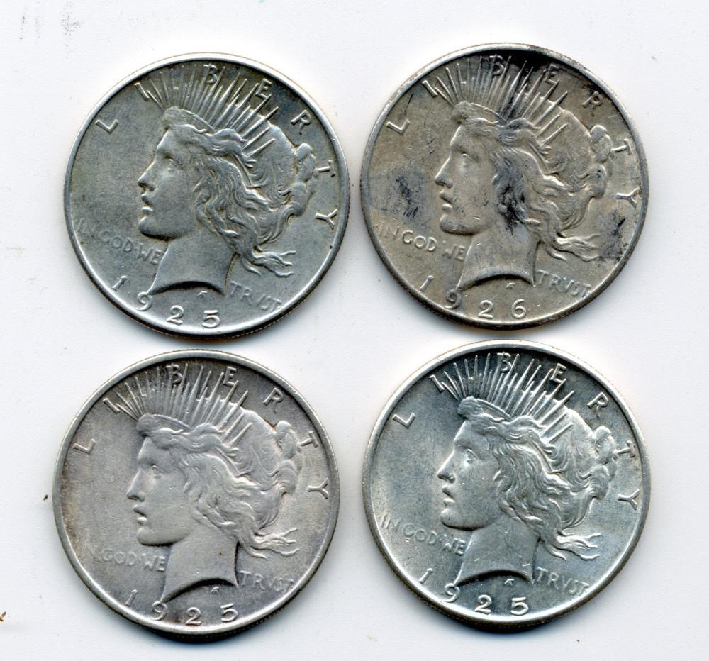 (4) Original Peace Dollars