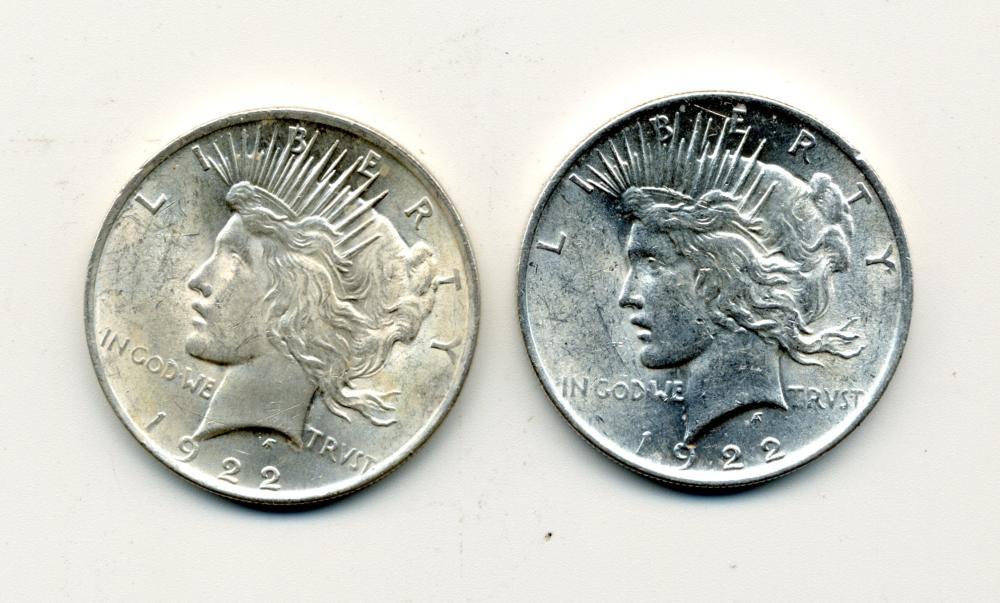 (2) Original 1922 Peace Dollars