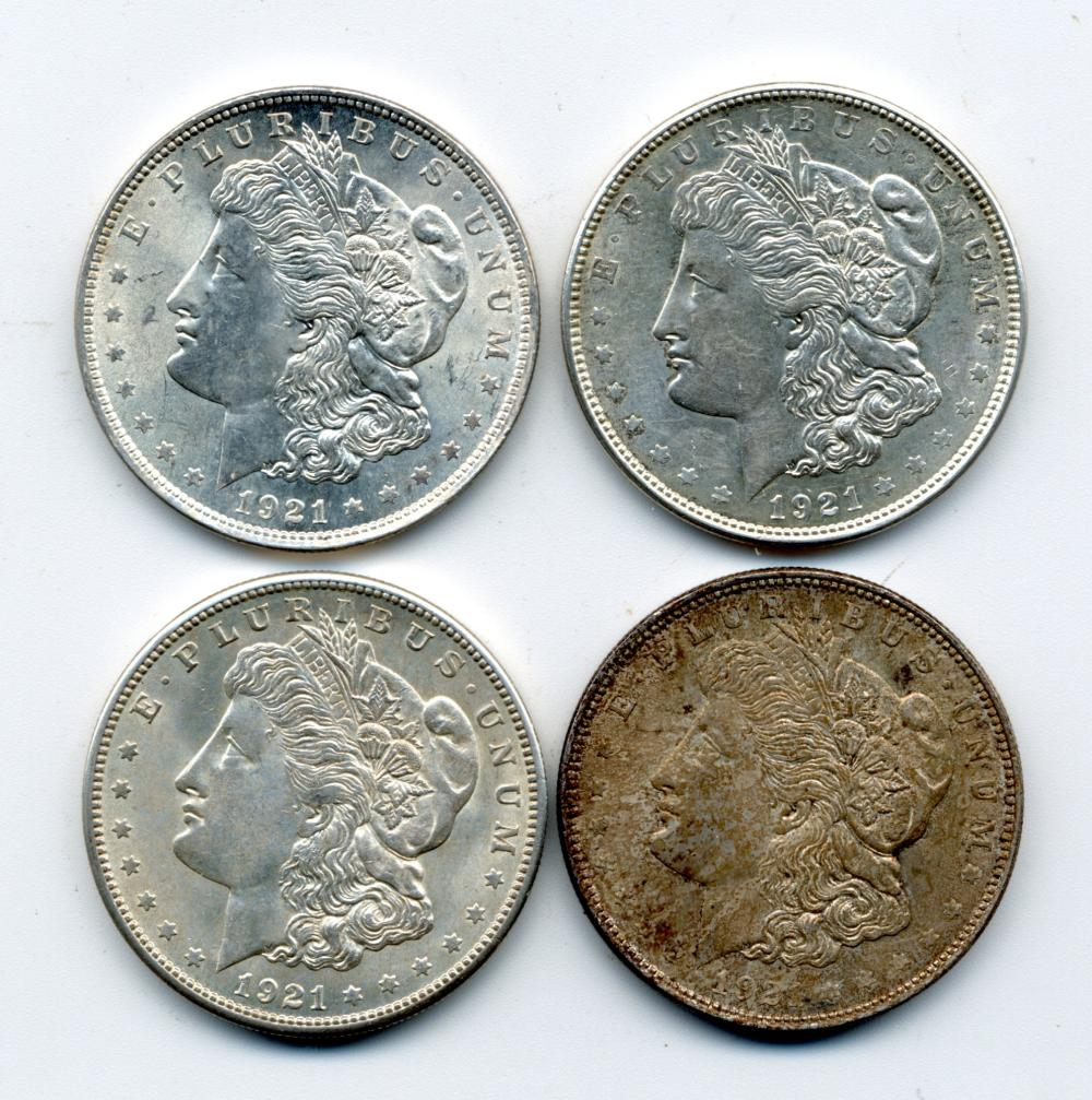 (4) Original 1921 Morgan Silver Dollars