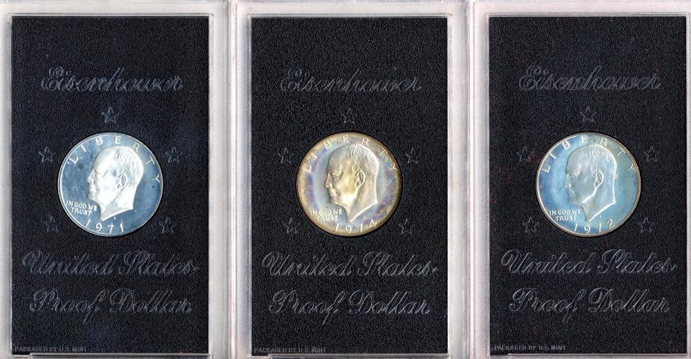 (3) Original Eisenhower Proof Dollars