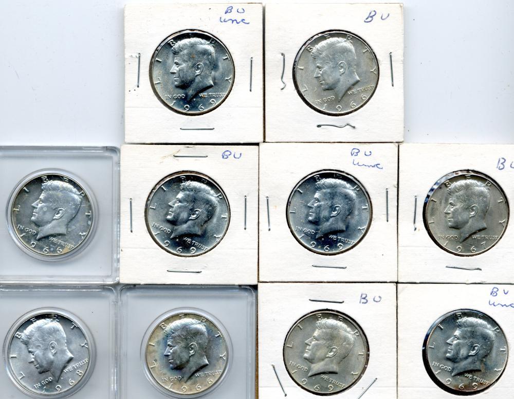 (10) Kennedy 40% Silver Half Dollars