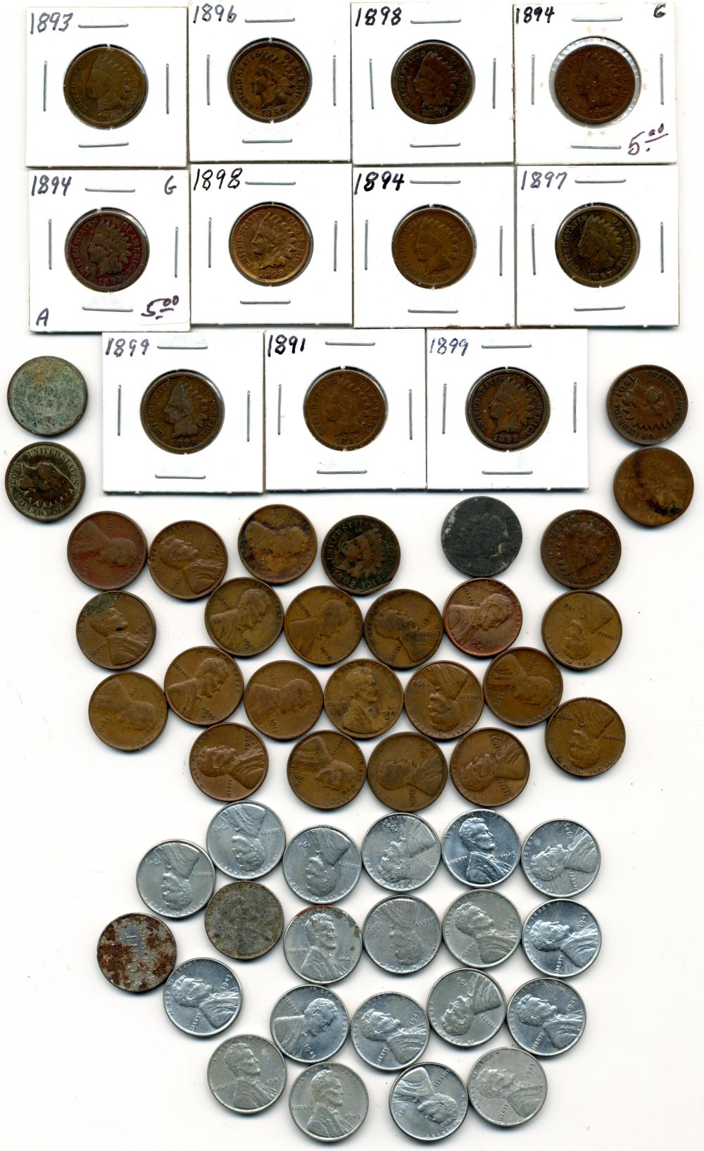 (59) Original Indian And Lincoln Cents