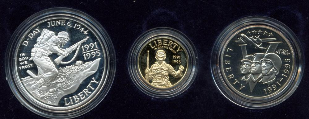 1991-1995 WWII 50th Anniversary Gold Silver Proof Coins