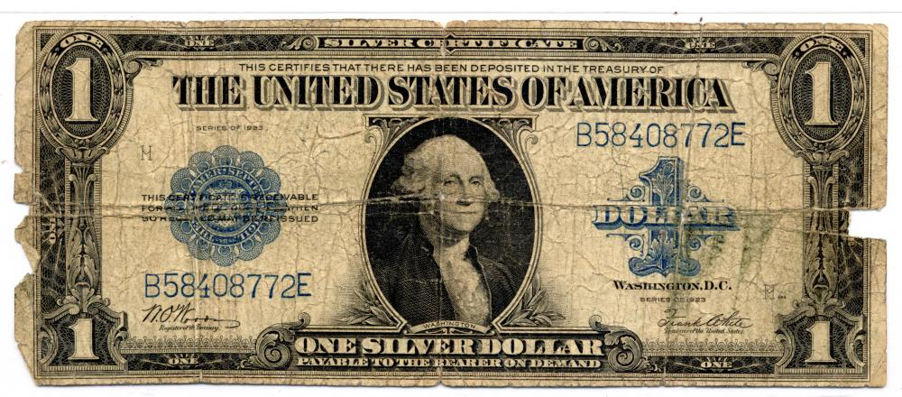 1923 $1.00 Silver Certificate Currency Note