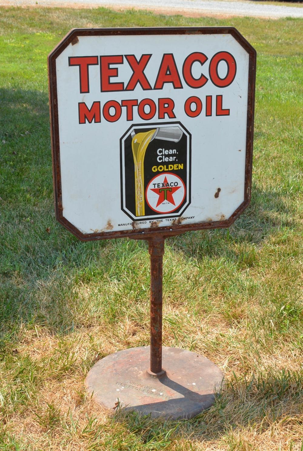 Texaco Motor OIL Porcelain Lollipop Curb Sign