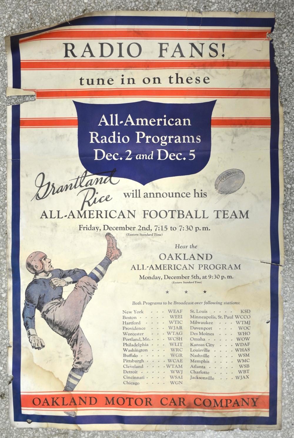 Oakland Motor Car Radio Fans Football Poster