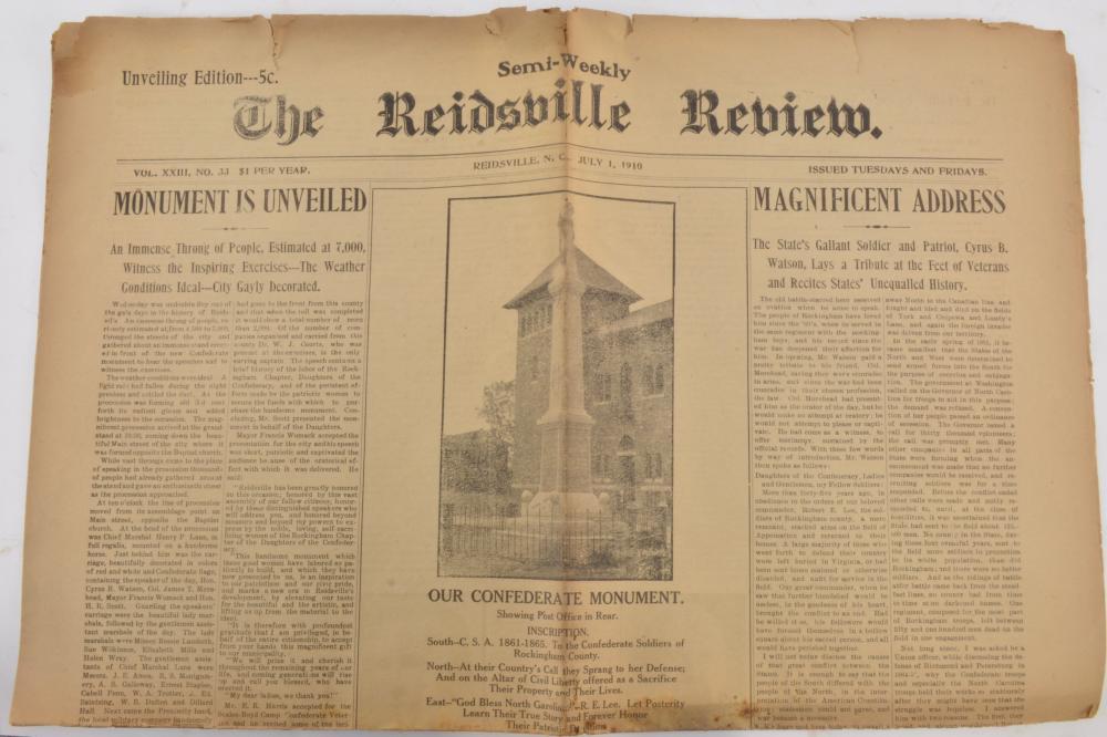 Reidsville North Carolina Confederate Monument Original Flag