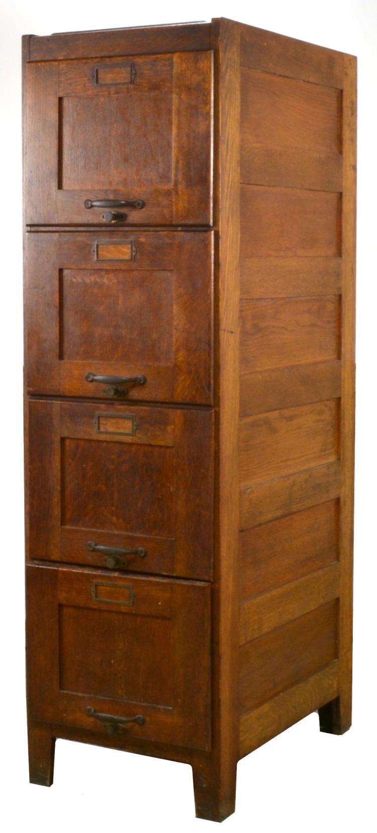 American Oak Upright File Cabinet