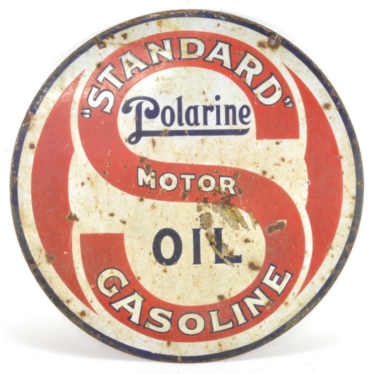 Standard polarine motor oil gasoline porcelain sign for Where can i drop off used motor oil
