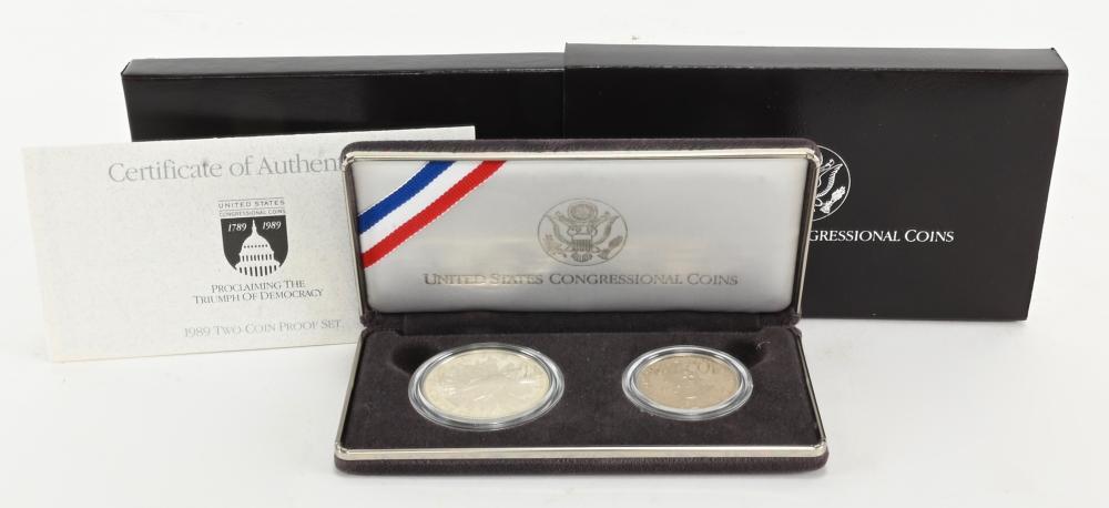 Original 1989-S U.S. Two Congressional Coin Proof Set
