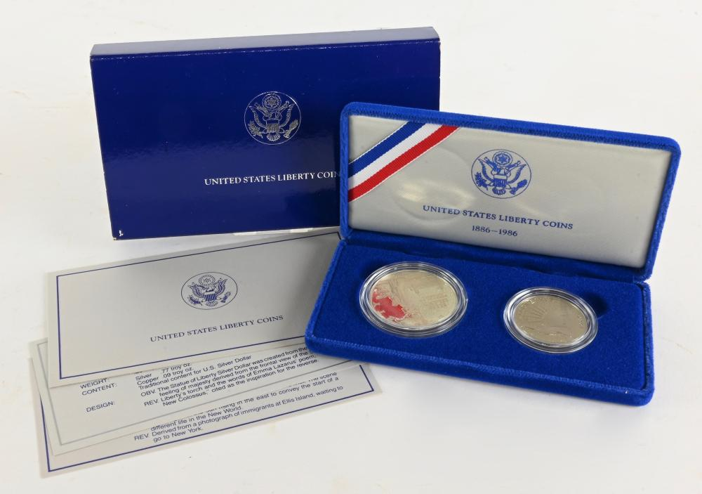 Original 1986-S Statue Of Liberty Two Coin Proof Set