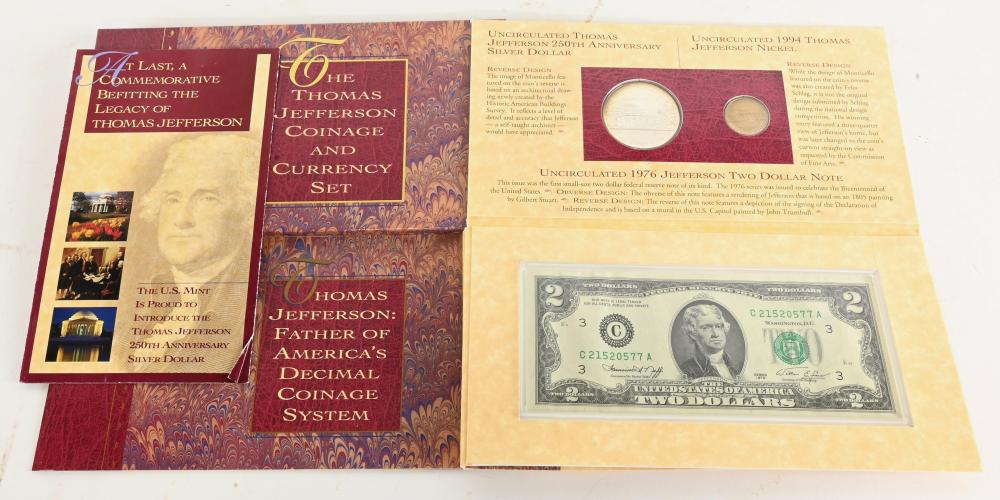 Original 1993-P Thomas Jefferson Coinage And Currency Set