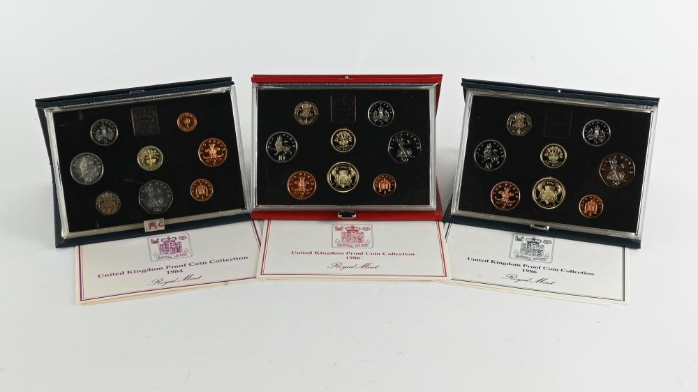 (3) Original United Kingdom Proof Coin Collection