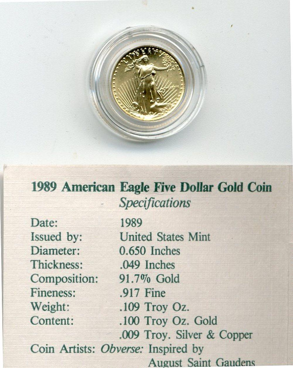 Original 1989 $5.00 American Gold Eagle