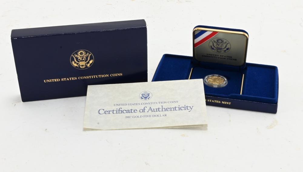 Original 1987-W $5.00 Gold Constitution