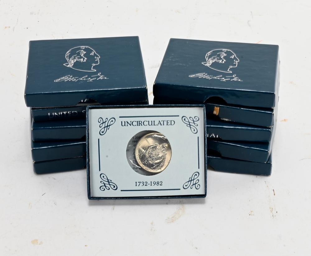 (9) Original 1982 George Washington Silver Commemorative Half Dollars