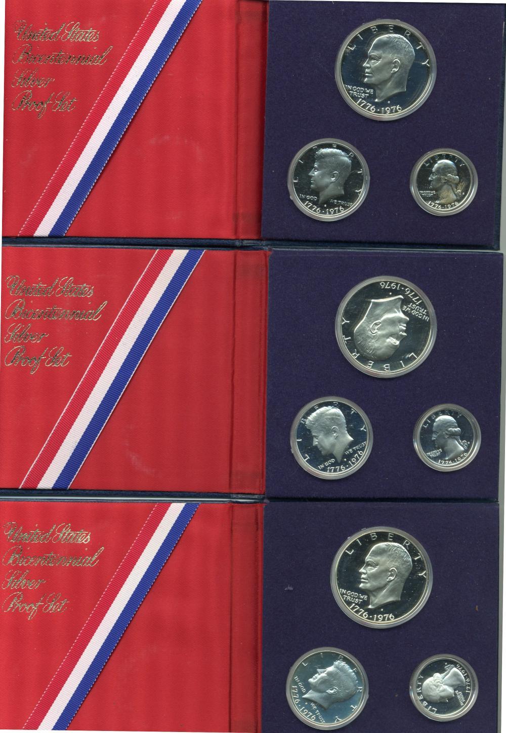 (3) Original 1976 U.S. Bicentennial Silver Proof Sets