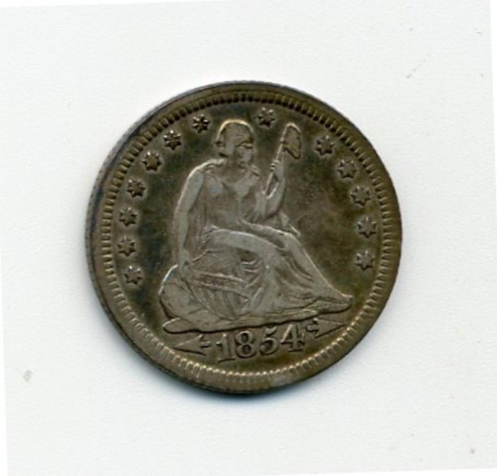 Original 1854 Seated Liberty Quarter