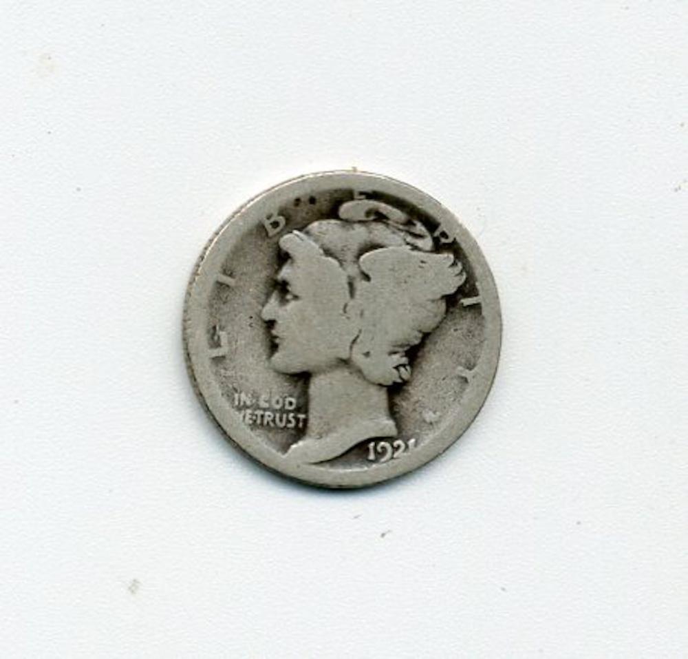 Original 1921 Mercury Head Dime
