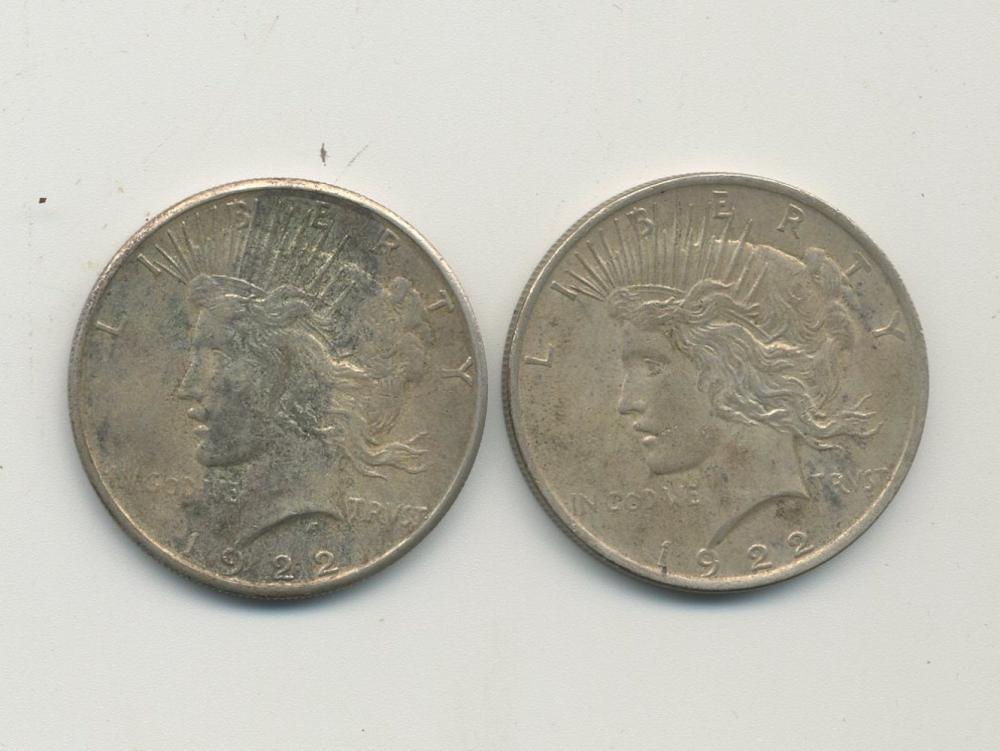 (2) Original Peace Silver Dollars