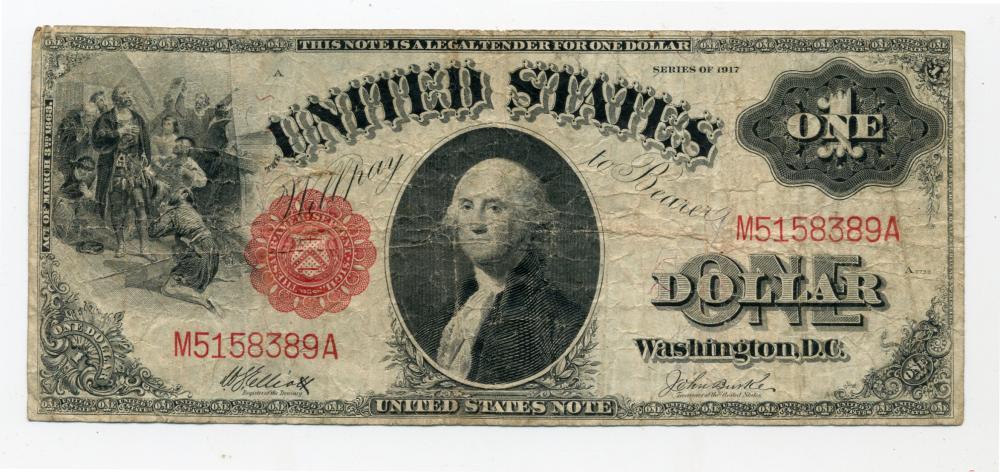 Original 1917 $1.00 U.S. Legal Tender Currency Note