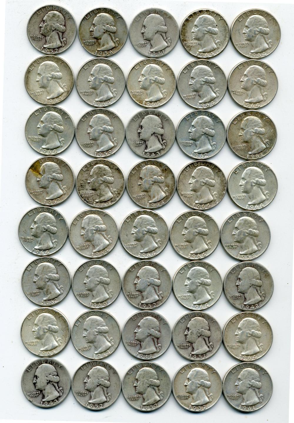 (40) Original U.S. Washington Silver Quarters