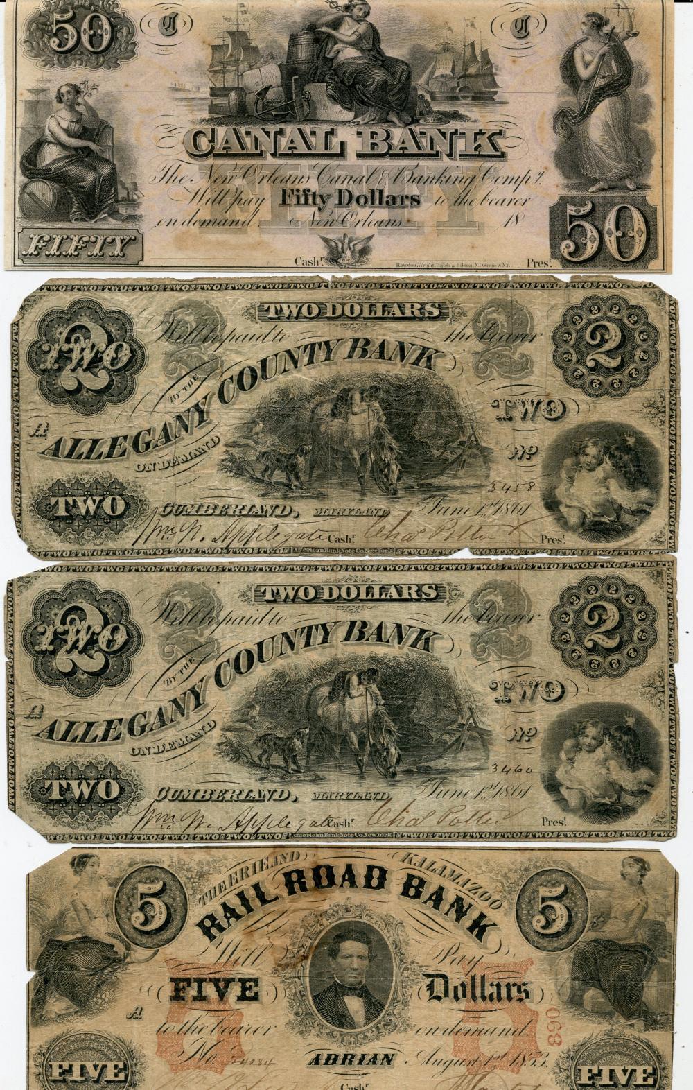 (4) Original Civil War Obsolete Currency Notes