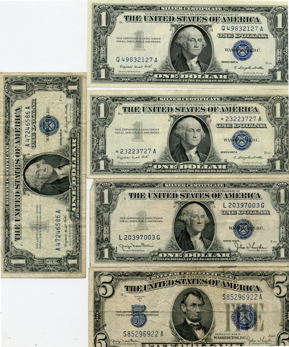 (5) Original Silver Certificate Currency Notes