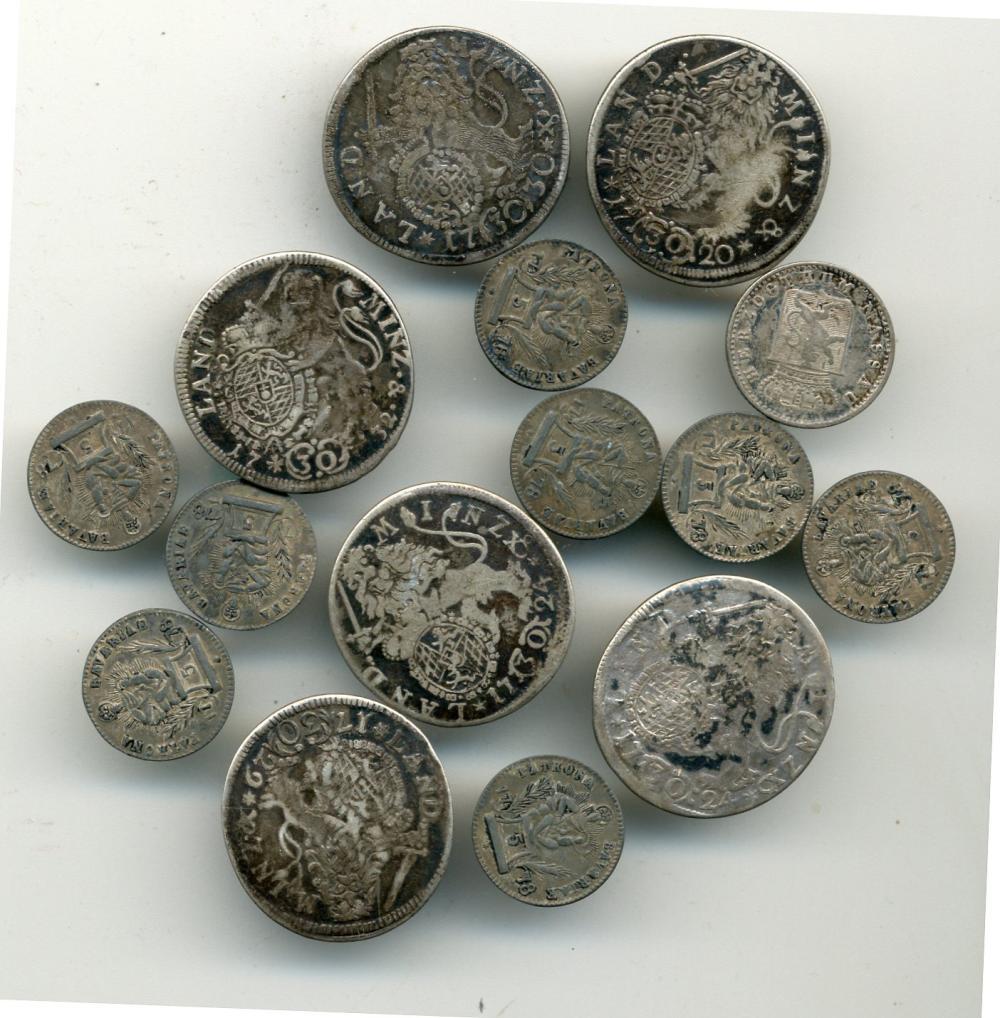 (15) Original 18th Century Silver Coin Buttons