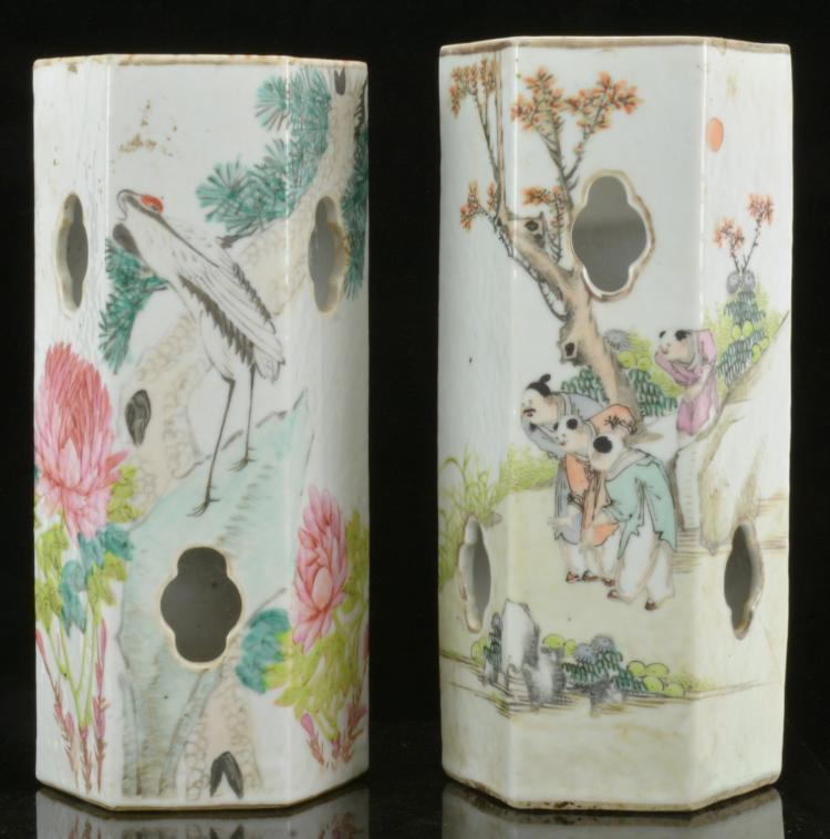 Antique Chinese Porcelain Hat Stand Vases