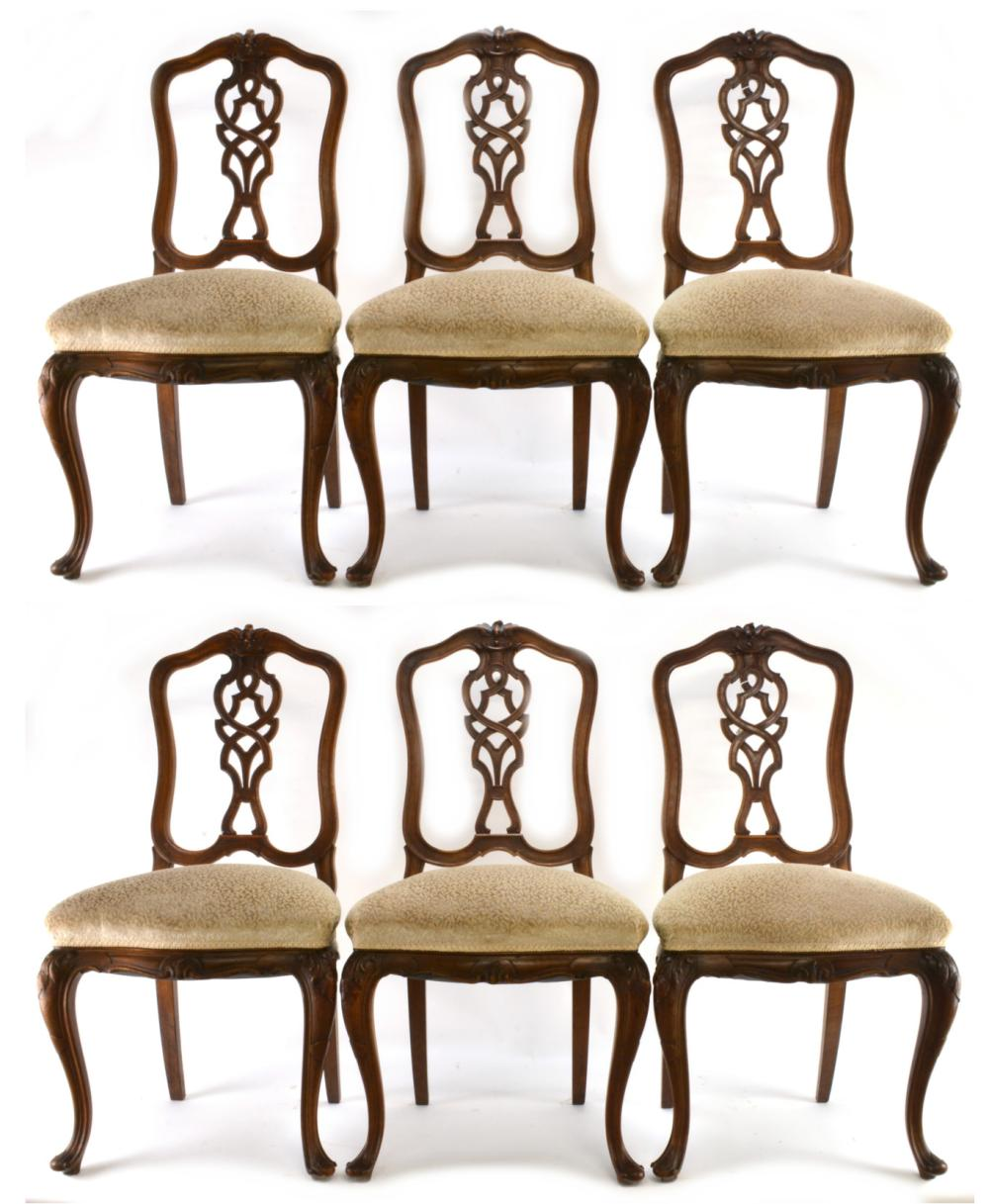 Antique French Louis XV Style Carved Set Of (6) Dining Chair