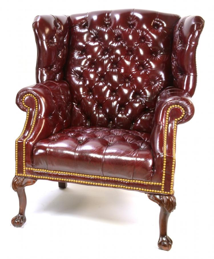 Leather Craft Chesterfield Wingback Chair