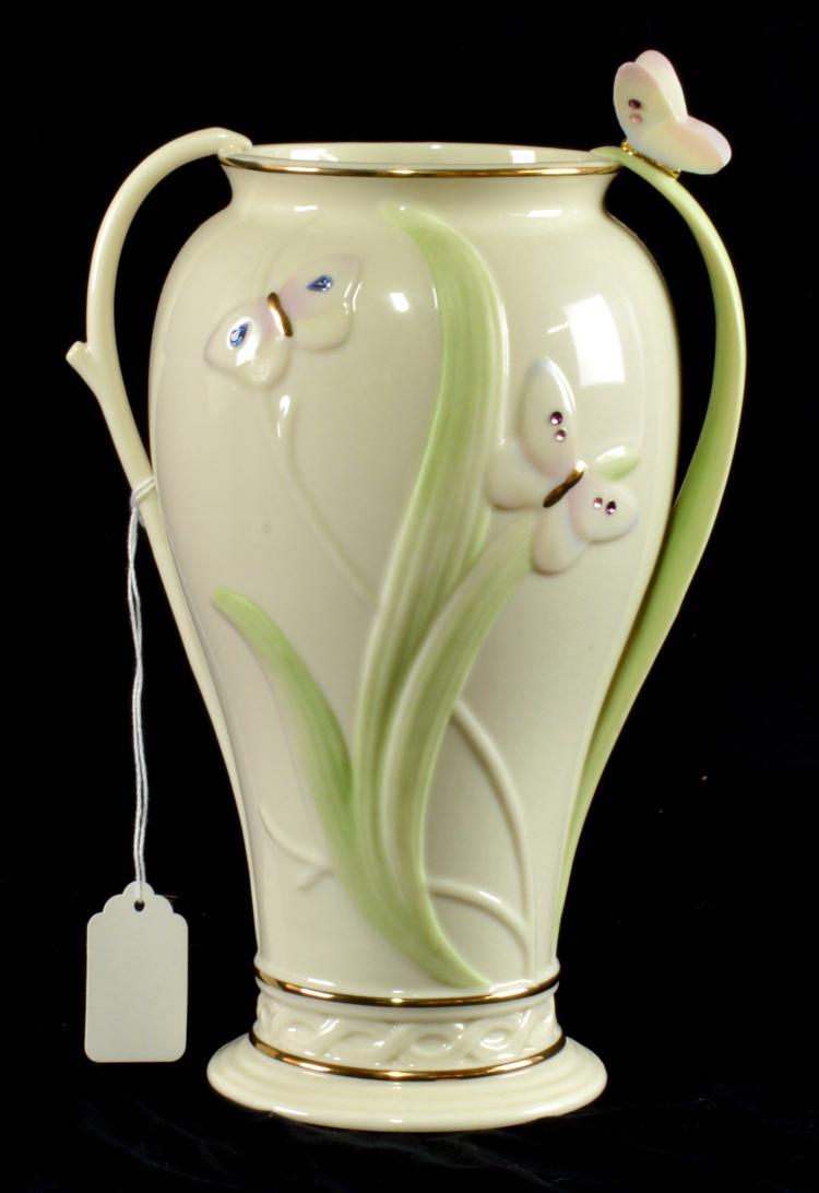 Lenox Swarovski Jeweled Butterfly Ivory Vase