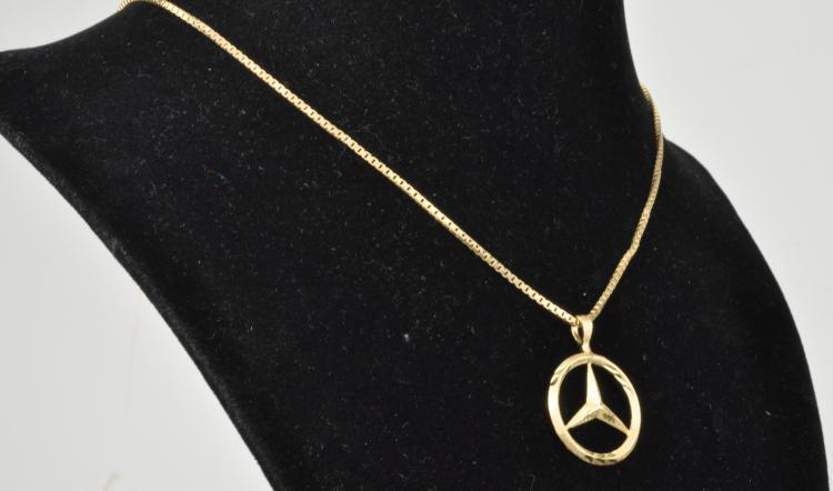 14k gold necklace and mercedes pendant for 14k gold mercedes benz pendant
