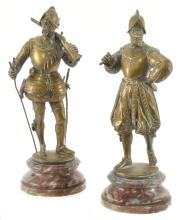 Pair Of Arquebusier Bronze Dore By Emile Guillemin