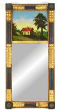 Early American Federal 2 Part Painted Mirror