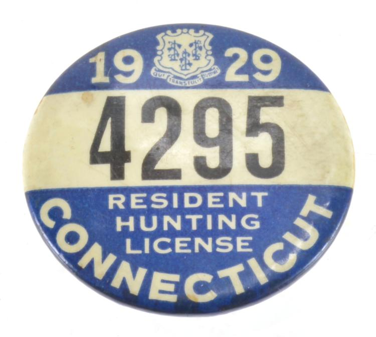 1929 connecticut hunting license badge for Ct fishing license