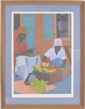 Peter Lynn Marigot Market 2 offset lithograph
