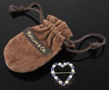 14K Gold Tiffany & Co. Pearl Sapphire Pin