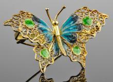 .800 Silver Enameled Butterfly Pin