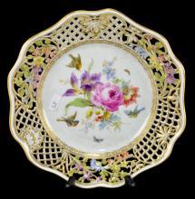Meissen Porcelain Bird and Butterfly Plate